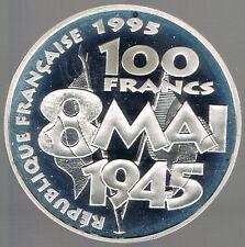 FRANCE - BELLE EPREUVE  ARGENT- 100 FRANCS 8 MAI 1945 - 1995 sur MODULE DE 10Frs
