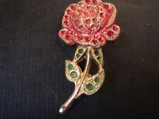 TRES BELLE BROCHE FANTAISIE ROSE VINTAGE 1980 NEUF/NEW/OLD/NEW  ROSE BROCH