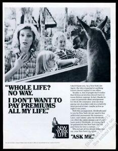 1983 llama mom and kids photo New York Life insurance vintage print ad