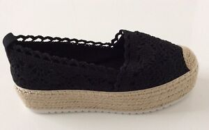 Women Crochet Knit  Platform Espadrilles  Black  Size 3