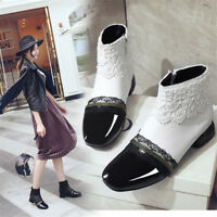 Women's Chunky Mid Heels Lace Side zip Ankle Boots Casual Work OL Fashion Shoes