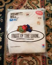 Vtg 1986 Fruit of the Loom 3-pack Crew Neck T-Shirts Made in USA Medium 38-40