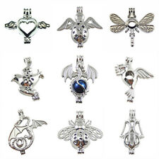 9 Pcs/Set Dragon Bees Pearl Bead Cage Locket Pendant For Necklace Jewelry Making