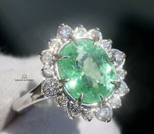 Paraiba Tourmaline Ring Gold Diamond Natural 4.89CTW GIA Certified RETAIL $14300