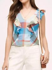 Anthropologie Drive-In Plaid Tank Blouse Top by Maeve Blue Sz 4 $88 New