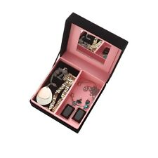 ORIFLAME TO YOU MIRRORED JEWELLERY CASE - BLACK VELVET WITH PINK INTERIOR - NEW