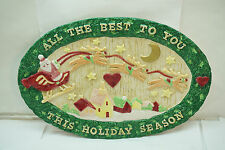 """FITZ AND FLOYD CHRISTMAS PLATTER SANTA SLEIGH REINDEER ALL THE BEST TO YOU 15.5"""""""