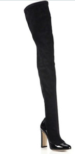 Dolce & Gabbana Black Stretch Suede and Patent Leather Thigh High OTK Boots-37/7