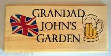 Personalizzata grandads Garden Placca / Firmare / Regalo-Bandiera Union Jack birra pinta
