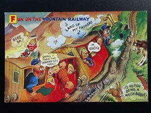 Wales Snowdonia FUN ON THE MOUNTAIN RAILWAY - Old Comic Postcard by Bamford