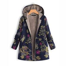 Plus Size UK Women Floral Hooded Fleece Fur Lined Coat Lady Winter Thick Jacket