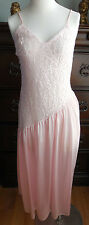 EUC SEXY PINK W/LACE UNDERCOVER WEAR WOMEN'S LONG NYLON VINTAGE NIGHTGOWN SIZE S