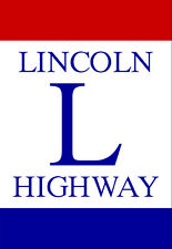 3x4 inch LINCOLN HIGHWAY Sticker - travel road east west sign san francisco ny