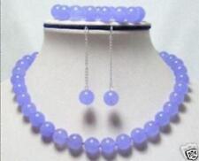 Exquisite Natural 8mm Lavender Jade Round Beads Necklace Bracelet Earring Set