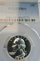 PR65 1954 PCGS GRADED SILVER WASHINGTON QUARTER PROOF LIGHT CAMEO LOOK COIN
