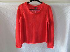 Eileen Fisher Round Neck Sweater-Lofty Merino Shoelace-Red Poppy- PL -NWT $318