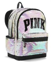 Victorias Secret PINK CAMPUS Backpack BLING SILVER GOLD SEQUINS - BRAND NEW