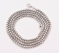 3mm Round Box Chain Necklace Real Sterling Silver Platinum Clad Anti Tarnish 925