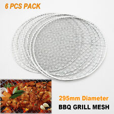 6x Round BBQ Steel Grill Mesh Fish Meat Net Barbecue Camping Outdoor Mat Clamp