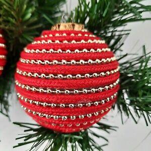 "Handmade Beaded Christmas Balls Ornament Decoration Holiday Set of 6  - 2 3/4"""