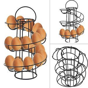 Chrome Spiral Egg Storage Holder 18 Eggs Swirl Style Storage Stand Kitchen