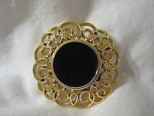 Jewelry Metal Pin Brooch Brand New Large Round Black Enamel Gold Scroll Fashion