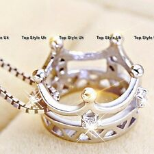 Xmas Jewellery Gifts for Her Crown Silver Necklace Women Best Friend Mum Wife F1
