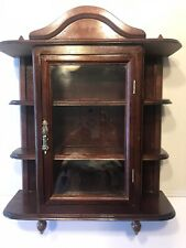 Vintage Wooden Curio Cabinet for miniatures Table or Wall Mount w/door