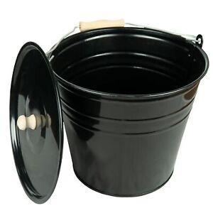 Zinkeimer Ascheeimer mit Deckel schwarz, Größe (12 Liter), ideale Kamin Zubehör