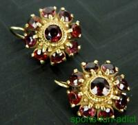 Vintage 14K solid Yellow Gold Bohemian Garnet Cluster Pierced Earrings