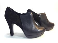 NEW LOOK black leather & suede platform bootie side zip shoes 8.5 wide 39