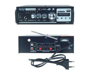 AMPLIFICATORE AUDIO STEREO 2 CANALI USB SD MP3 KARAOKE 2 MICROFONI TELECOMANDO