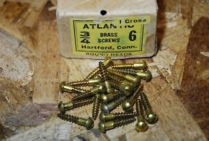 "#6 x 3/4"" Round Head Brass Wood Screws - Atlantic - NOS 20pcs #ps305"
