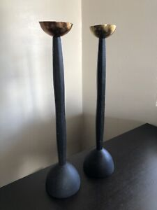 PAIR Vintage Copper & Black Iron Footed Candle Holder Candlestick Modern Design
