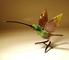 Blown Glass Figurine Art Bird Purple and Green HUMMINGBIRD with a Long Beak