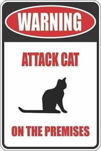 """*Aluminum* Warning Attack Cat On The Premises 8""""x12"""" Metal Novelty Sign  S369"""