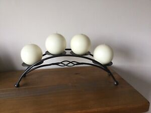 Large Decorative Black Iron Candle Holder Display Stand With 4 NEW round Candles