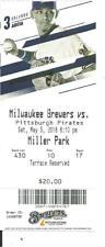 Brewers Pirates May 5 5 2018 Ticket Stub Marte HR Ryan Braun Josh Hader Win