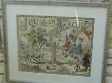 FRENCH PRINT 1910 JEU DE LA BASCULE GAME OF THE SEA SAW VICTORIAN CHILDREN,S