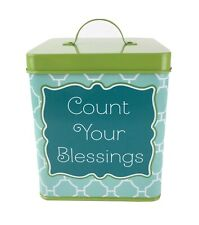 """""""Count Your Blessings"""" Metal Square Canister With Lid Lime Green Aqua Container"""