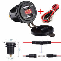 Car 5V 4.2A Quick Charge Dual USB Phone Charger with Red LED Voltmeter & Wire