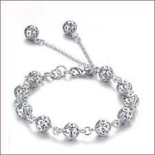 Fashion Lady's Silver Plated Bracelet Hollow Ball Beads Bangle Hand Chain