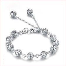 Mode Femme Bracelet En Plaqué Argent Tressée Boules Perles Bracelet Chaîne Main