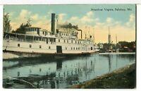 1910 - Side Paddle Wheel Steamboat VIRGINIA, Salisbury, Maryland Postcard