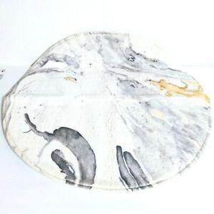 HAOCOO Bathroom Round Beige Marble Velvet Bath Mat Non-Slip