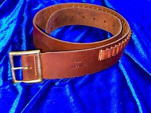 Vintage HUNTER 122 Med Brown Leather Cartridge .22 Ammo Belt ( EXCELLENT COND )