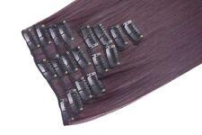 55.9cm pince en Extensions de Cheveux Lisse prune foncé 99J/1 tête Intégrale
