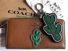 NWT COACH F59338 CACTUS ZIP WALLET + MATCHING CACTUS BAG CHARM F59864 SET NEW!!!