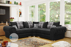 Verona Double Corner Chesterfield Sofa | Black Corner | Grey Corner