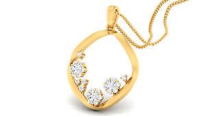 0,28 Cts Runde Brilliant Cut Natürliche Diamanten Anhänger In 585 Feine 14K Gold